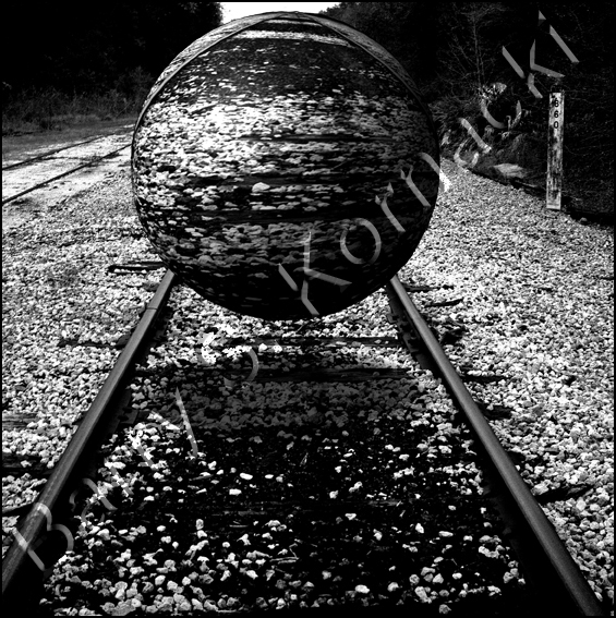 Track with ball, black and white photograph
