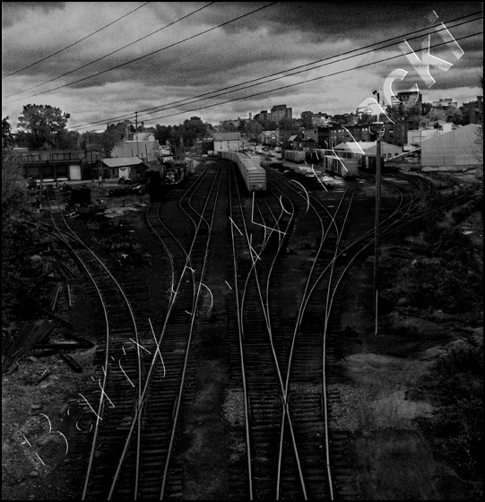 Train Yard, black and white photograph