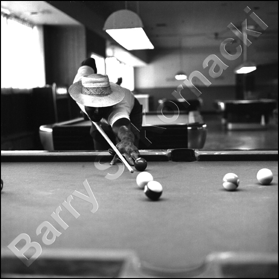 Pool Player, black and white photograph