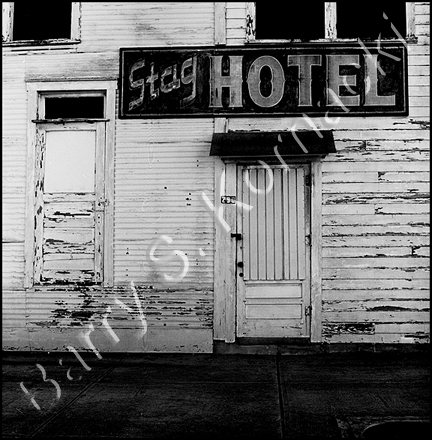 Stag Hotel, black and white photograph